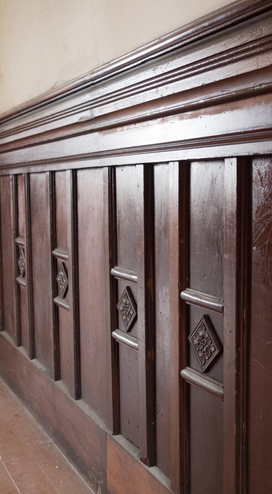 Closeup on woodwork.