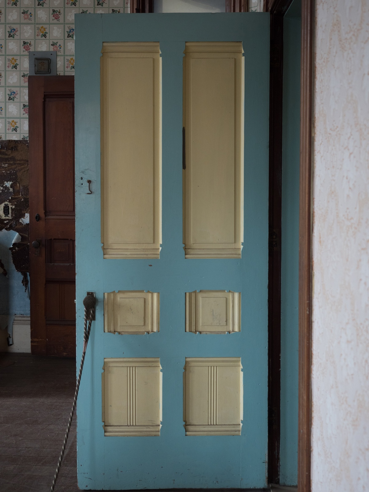 Colorful door with wallpaper in back.