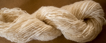 One ply skein. Way too tightly spun. but I still like it because it is my sheep wool.