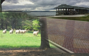 sheep on the outdoor concert dock
